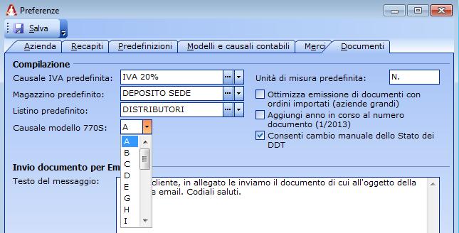 Nel caso di Ritenuta è necessario indicare la Causale indicata nel modello 770S