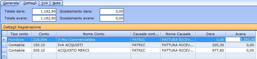 Registrazione contabile della fattura del commercialista