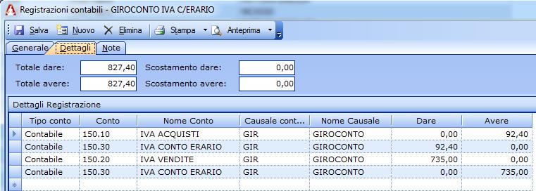 Registrazione contabile di giroconto a IVA CONTO ERARIO