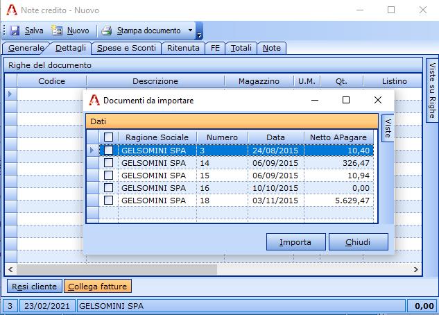 Il pulsante 'Collega Fatture' consente di selezionare le fatture da collegare alla nota di credito