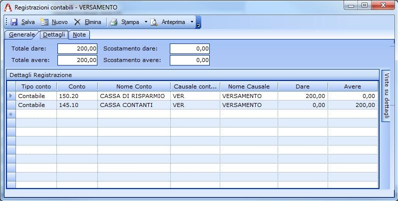 Registrazione di un versamento in contanti