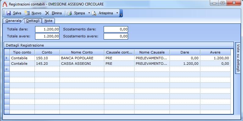 Registrazione relativa alla richiesta di un assegno circolare.