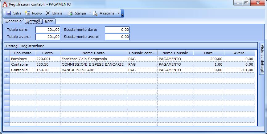 Registrazione contabile di un bonifico a fornitore con addebito commissioni