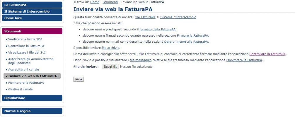 Invio fattura elettronica tramite portale Web