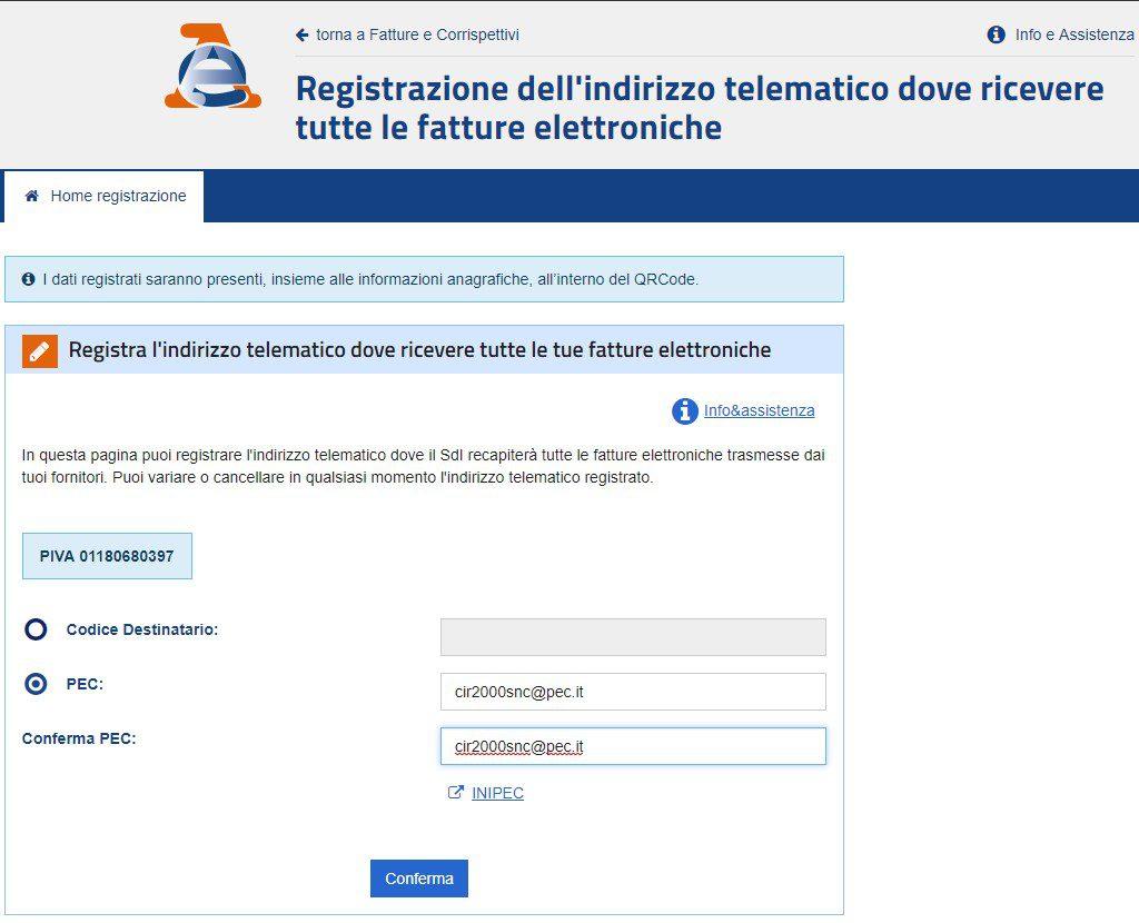 Registrazione indirizzo telematico dove ricevere le fatture elettroniche