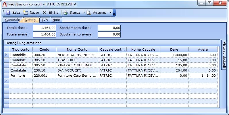 Registrazione di una fattura di acquisto che include servizi e spese