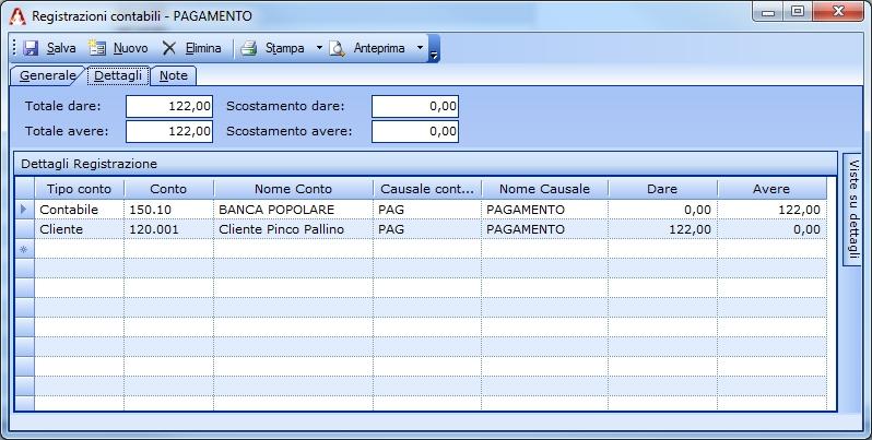 Registrazione del saldo diretto al cliente di una Nota di Credito