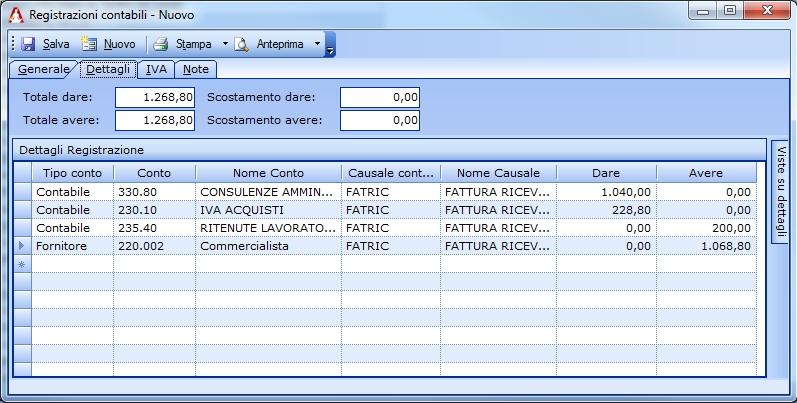 Registrazione in contabilità della fattura del Commercialista.