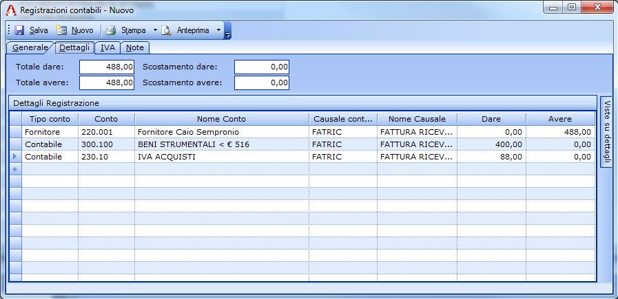 Registrazione di un bene di valore inferire a €516,46