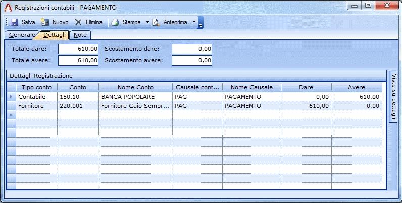 Registrazione contabile di pagamento a fornitore