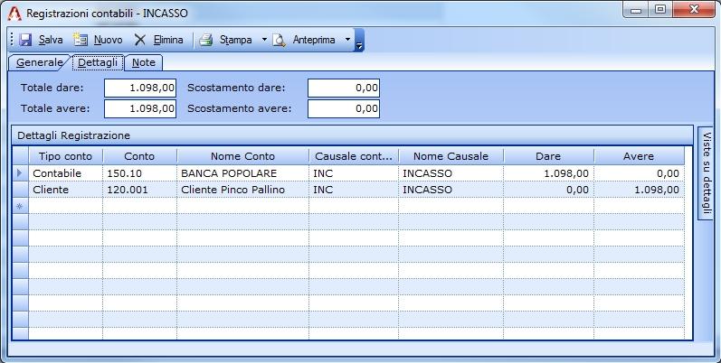 Registrazione semplice all'incasso di una Nota di Credito