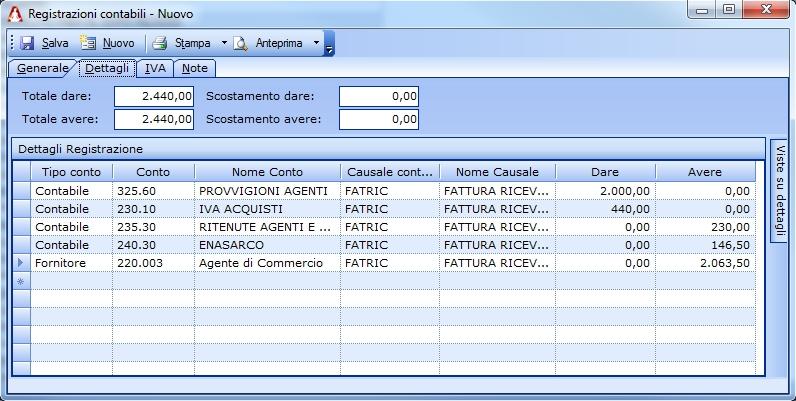 Registrazione contabile relativa alla fattura del agente di commercio.