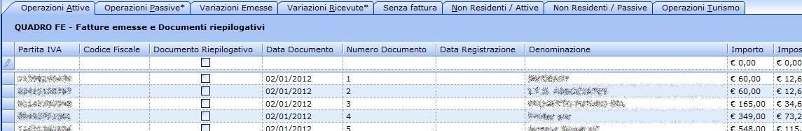 Spesometro 2013 - Area di inserimento dati (click per ingrandire)
