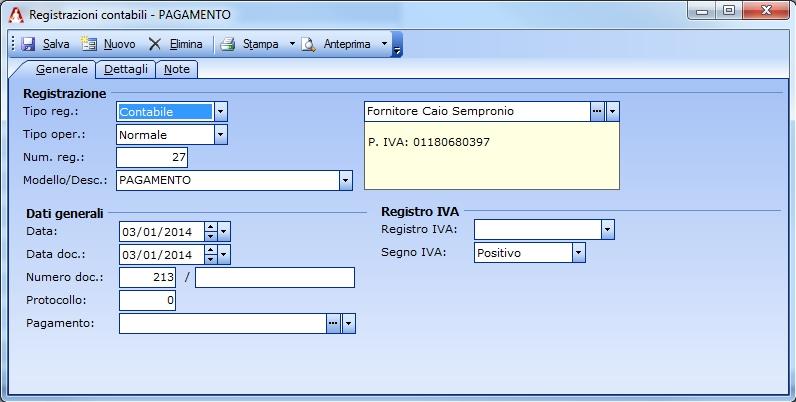 Registrazione contabile del saldo a mezzo ricevuta bancaria