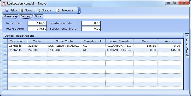 Registrazione di accantonamento della quota a carico dell'azienda.