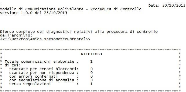 Spesometro 2013 - Il report di convalida fornito dal programma Entratel