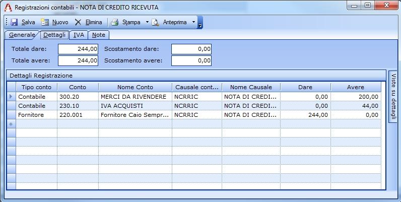 Registrazione di una Nota di Credito ricevuta