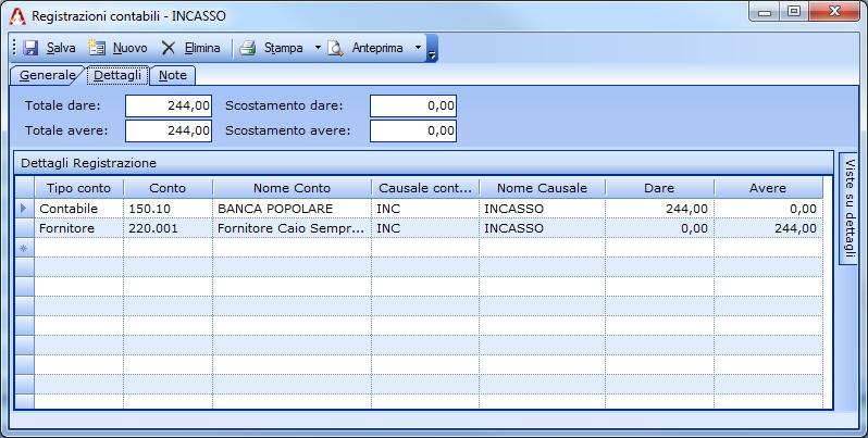 Registrazione semplice del pagamento di una nota di credito ricevuta da fornitore