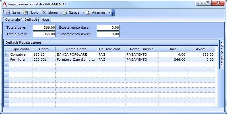 Registrazione semplice dell'incasso di una nota di credito fornitore